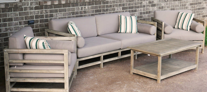 grand haven 4 piece acacia wood outdoor patio sofa set with table