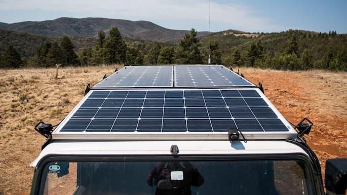 solar panels on the vehicle